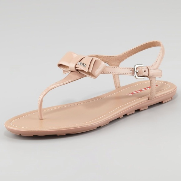3765ab73ea7 Prada Patent Leather Bow Thong Nude Sandal